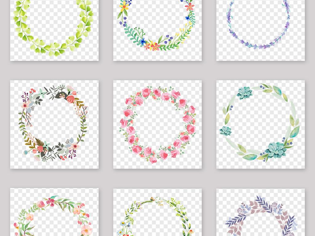 手绘小清新圆形花环边框png素材
