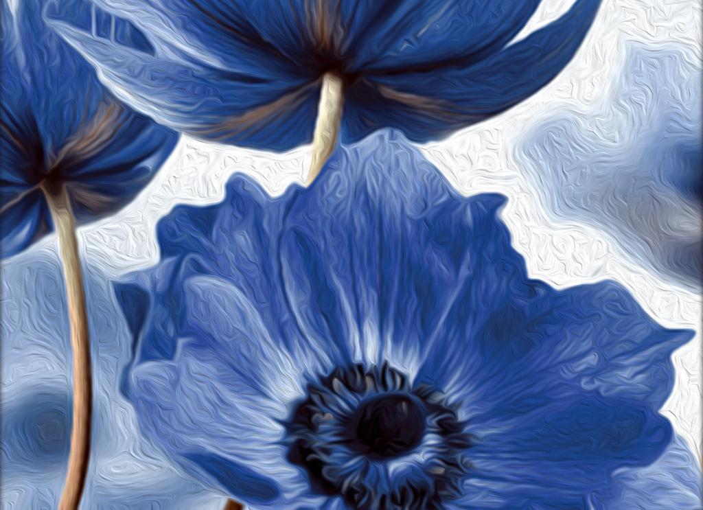 森林风景装饰画 > 手绘花卉花朵蓝色三联装饰画清新简约北欧  素材