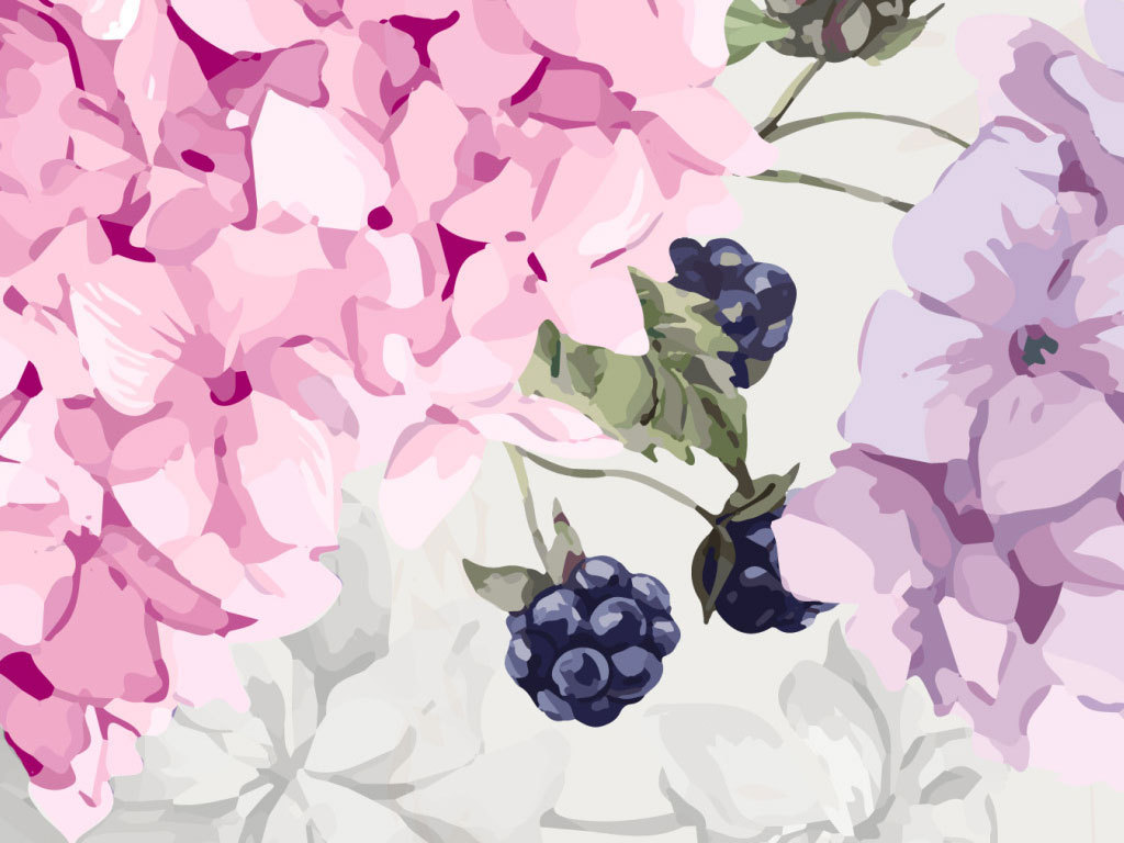 唯美手绘花卉简约电视沙发背景墙壁画绣球花