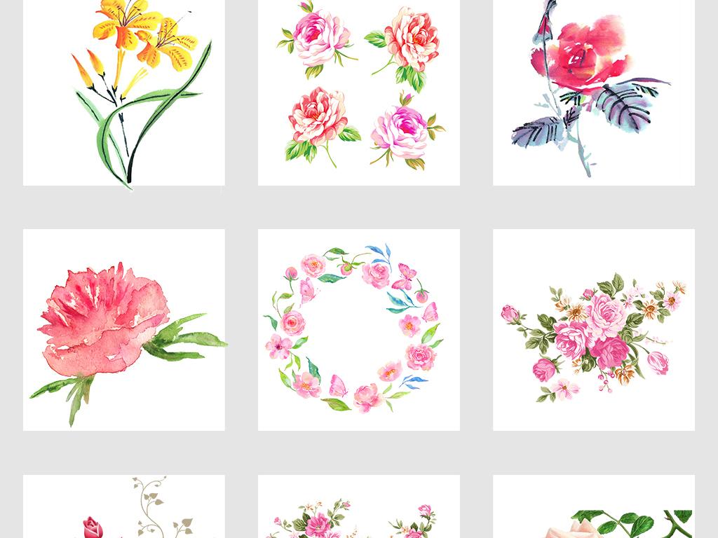 50款手绘玫瑰花情人节七夕免抠png素材