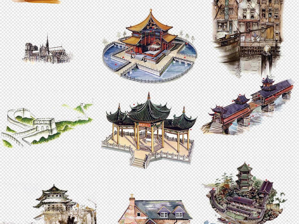 水彩手绘古建筑世界名胜古迹旅游景观png免扣素材图片
