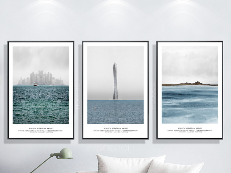 现代简约自然清新大海之家北欧装饰画三联画