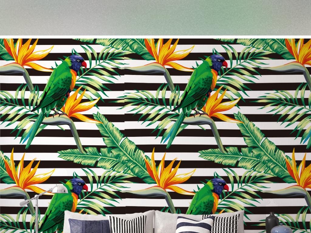 北欧芭蕉叶植物绿叶花鸟手绘背景墙纸