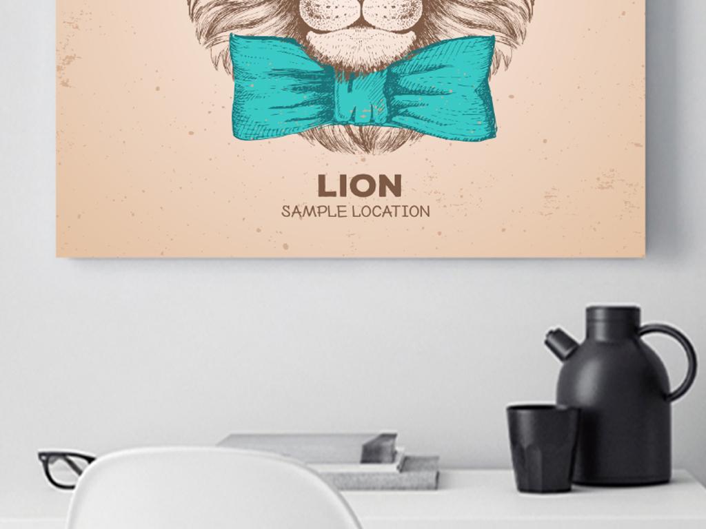 现代简约手绘狮子装饰画无框画