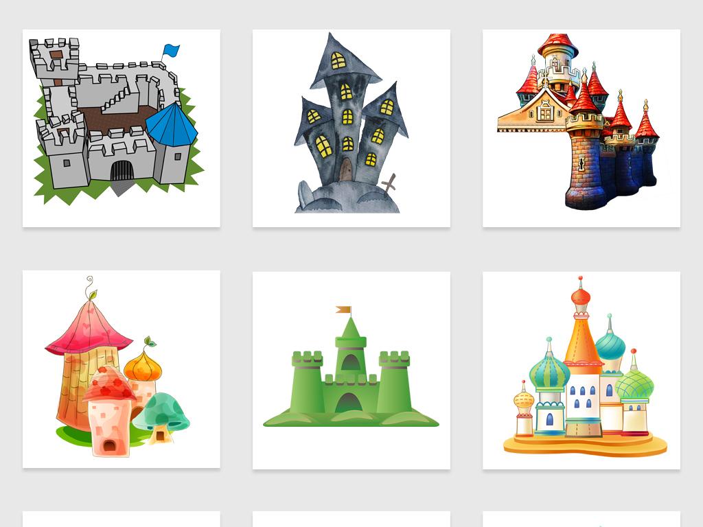 手绘卡通城堡插图魔法城堡迪士尼城堡免抠图素材图片 psd模板下载