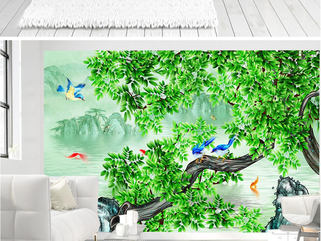 新中式手绘工笔花鸟山水背景墙装饰画