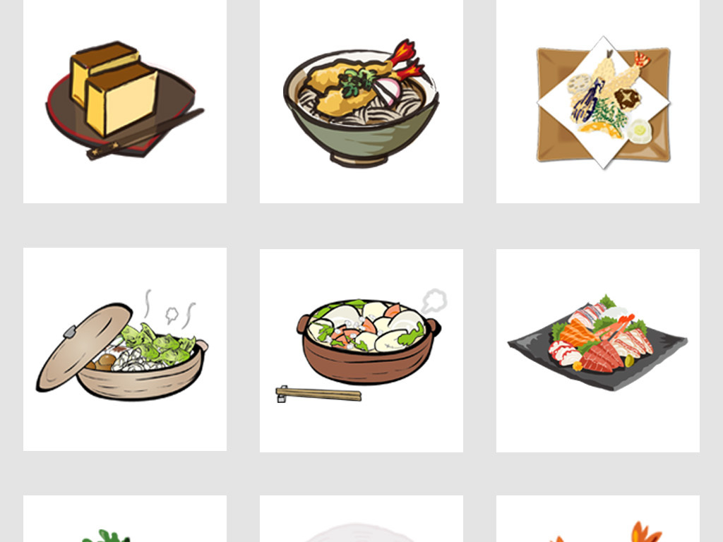 扁平化手绘日本美食餐饮元素集合eps png
