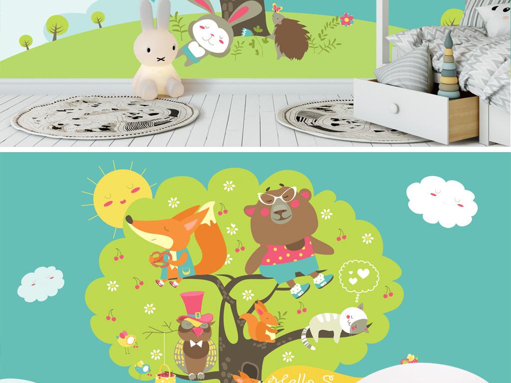 手绘可爱卡通动物小熊大树儿童房电视背景墙