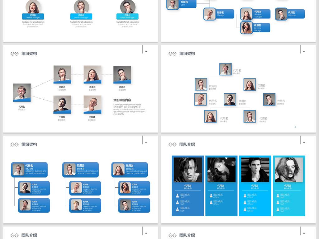 企业组织架构图&团队介绍ppt模板图片
