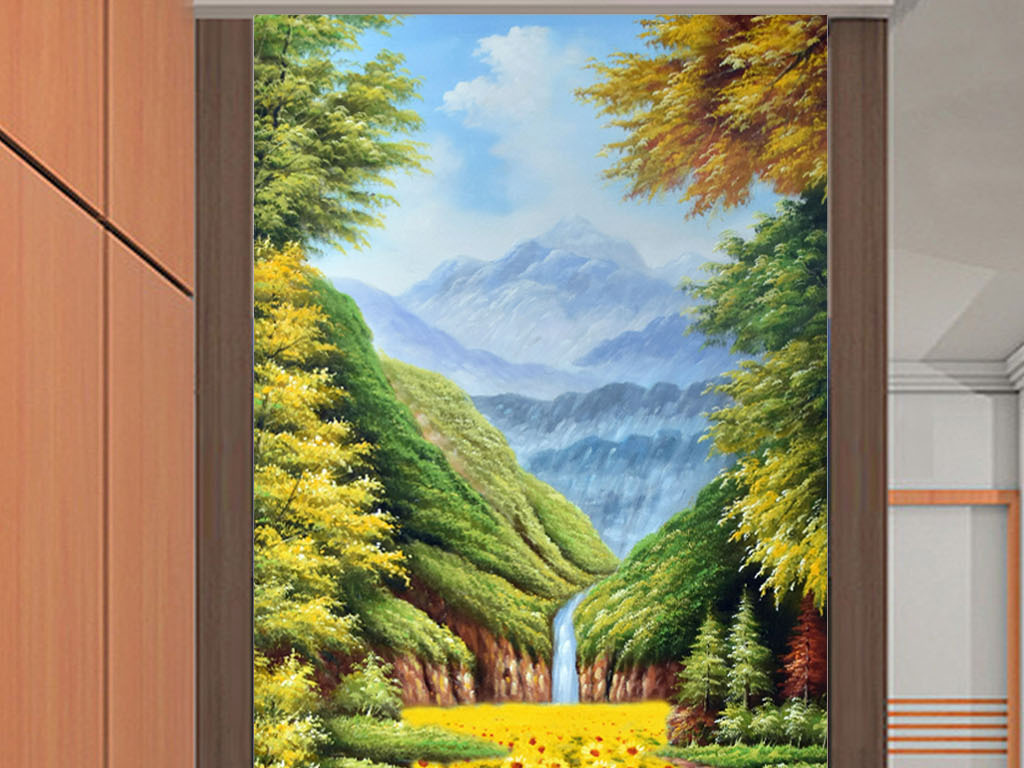 唯美手绘高清向日葵山水风景油画玄关