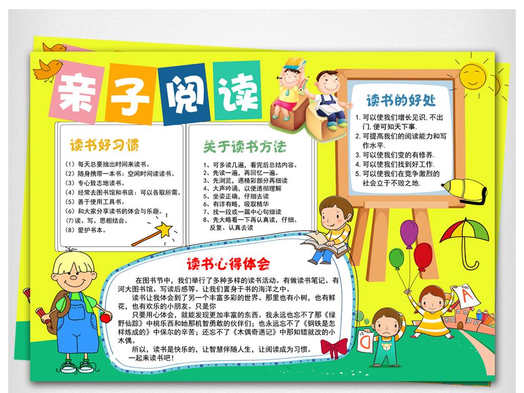 亲子阅读电子小报小学生读书学习心得体会手抄报图片