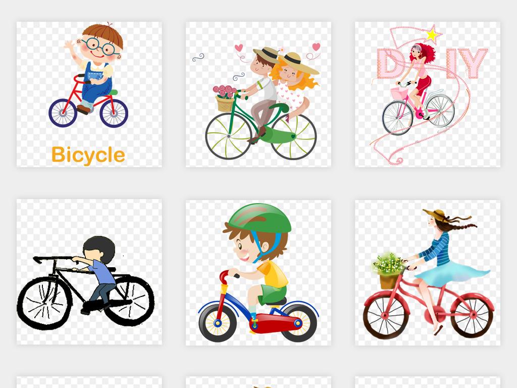 q版手绘卡通骑自行车儿童情侣单免扣素材车png