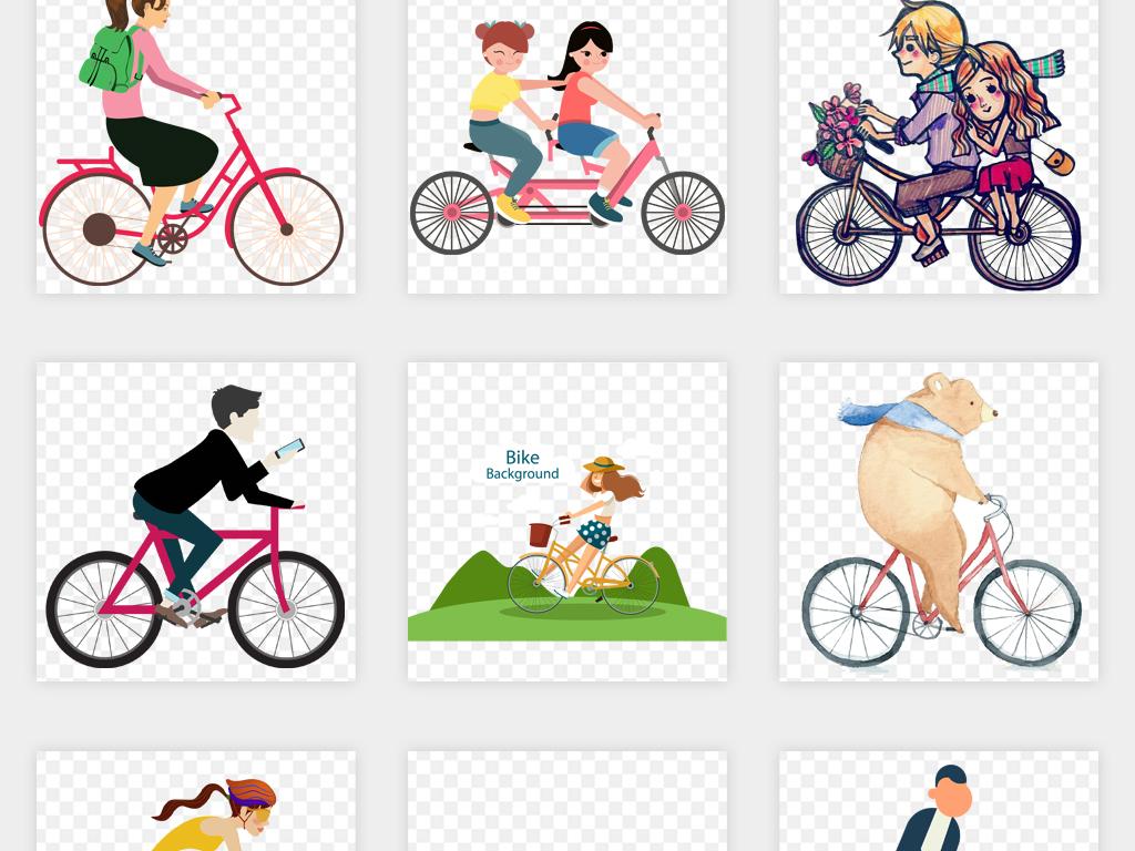 素描手绘儿童卡通骑自行车情侣父亲节单车png免扣素材