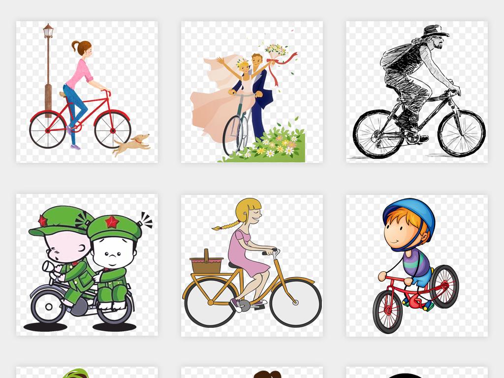 原创q版卡通手绘骑自行车父亲节情侣单车比赛海报图片模板png免扣素材