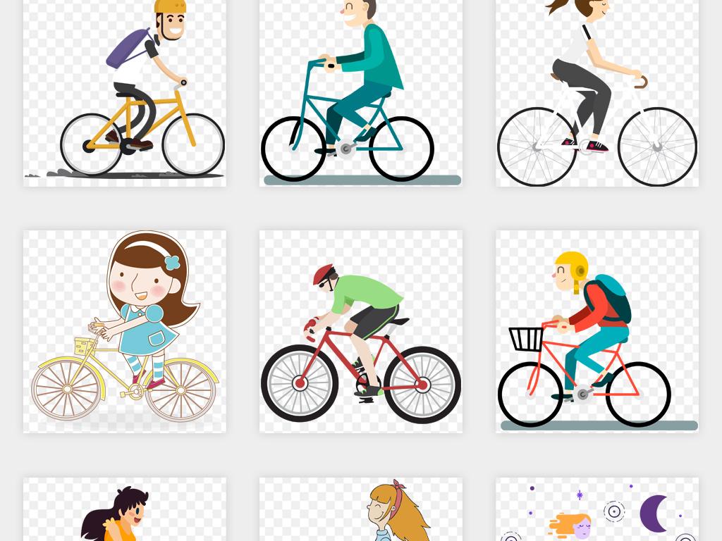 q版卡通手绘骑自行车父亲节情侣单车比赛海报图片模板