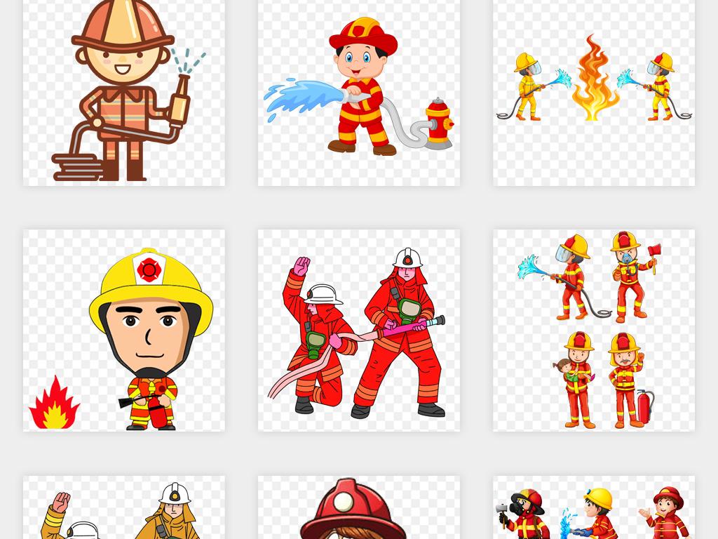 免扣元素 人物形象 帅哥 > 动漫卡通消防员漫画消防防火安全png免扣