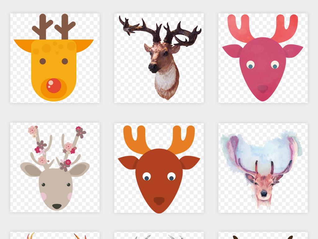 水彩卡通手绘鹿头艺术图案图片森林鹿麋鹿剪影png免扣