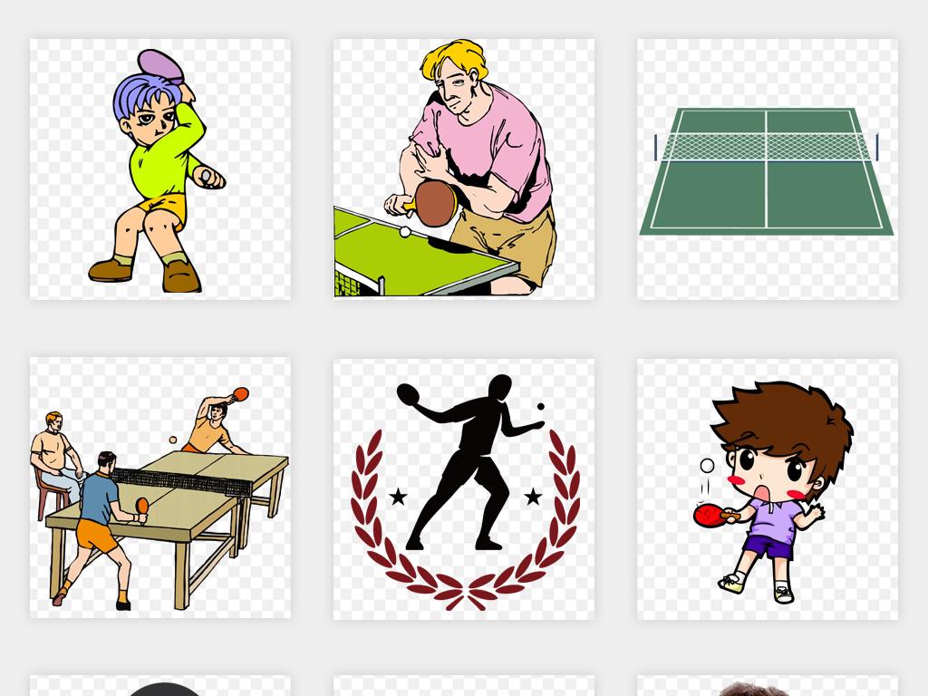 卡通儿童国球打乒乓球运动会比赛海报设计png免扣素材