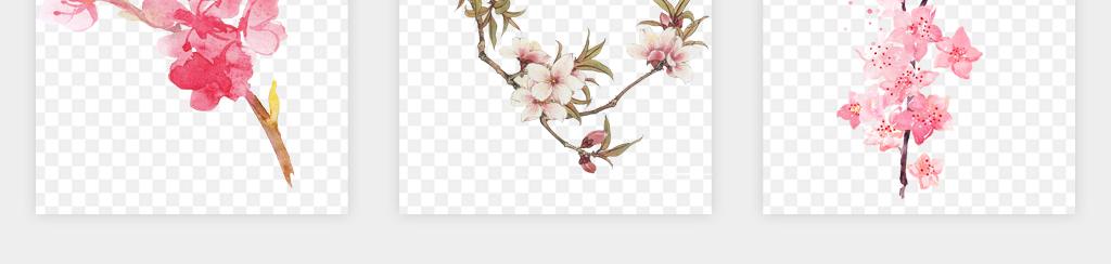 卡通唯美手绘漂亮粉红色树枝动态桃花花瓣飘落png免扣