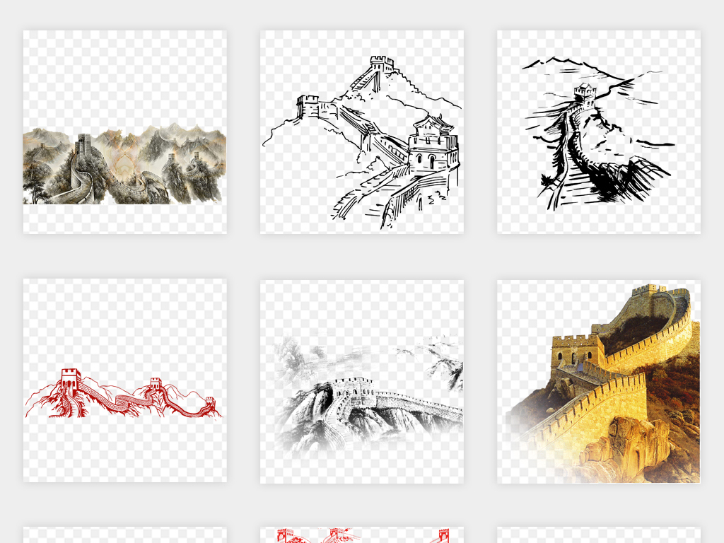 手绘中国风卡通万里长城剪影png免扣素材