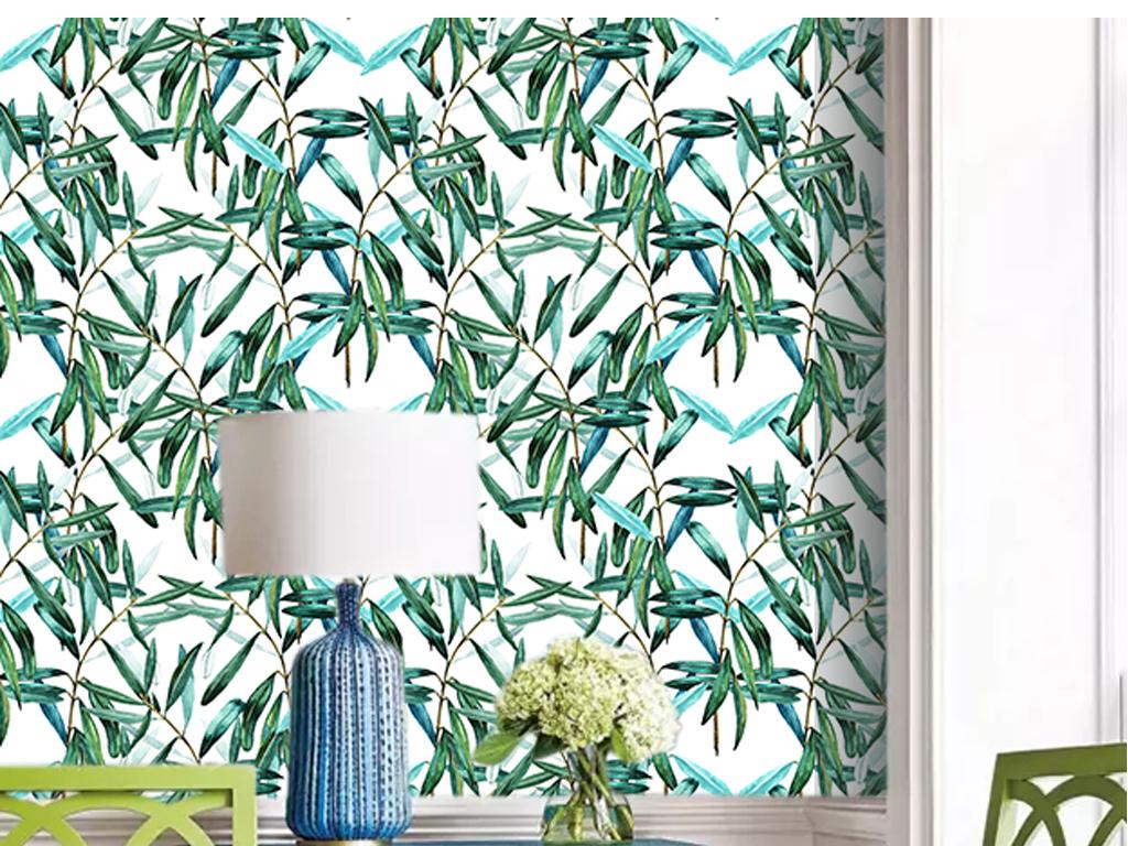 高清手绘东南亚风格叶子墙贴墙纸