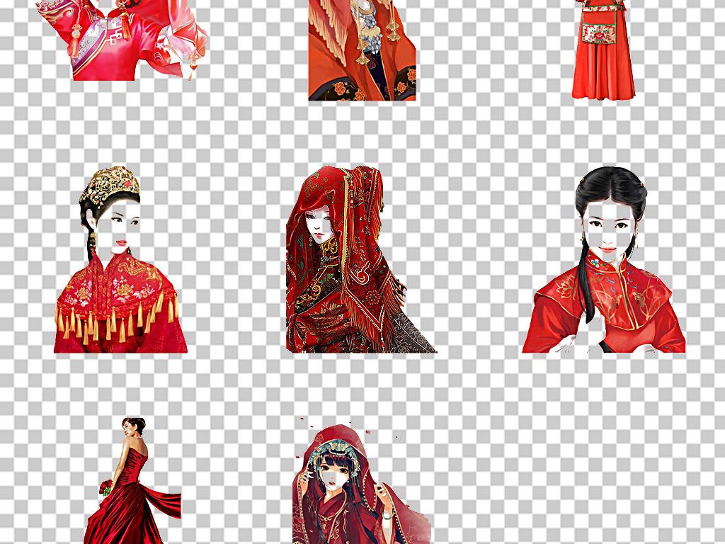 原创中国风手绘新娘古风美女人物