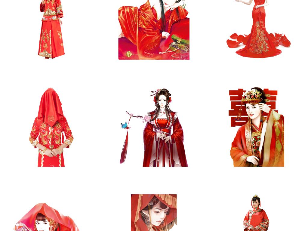 中国风手绘新娘古风美女人物