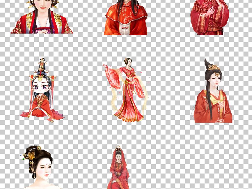 古风新娘手绘古典红盖头新娘