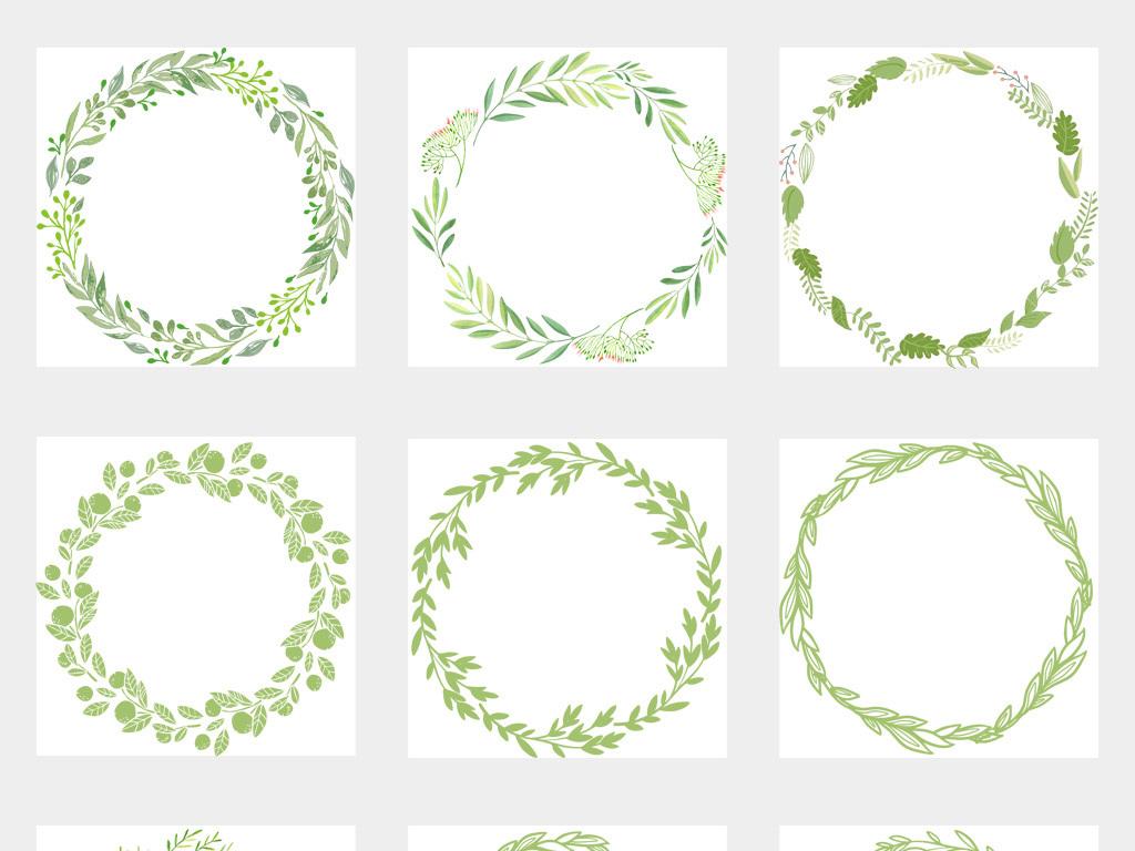 免抠元素 花纹边框 卡通手绘边框 > 50款春天树叶圆形圆环圆圈绿色