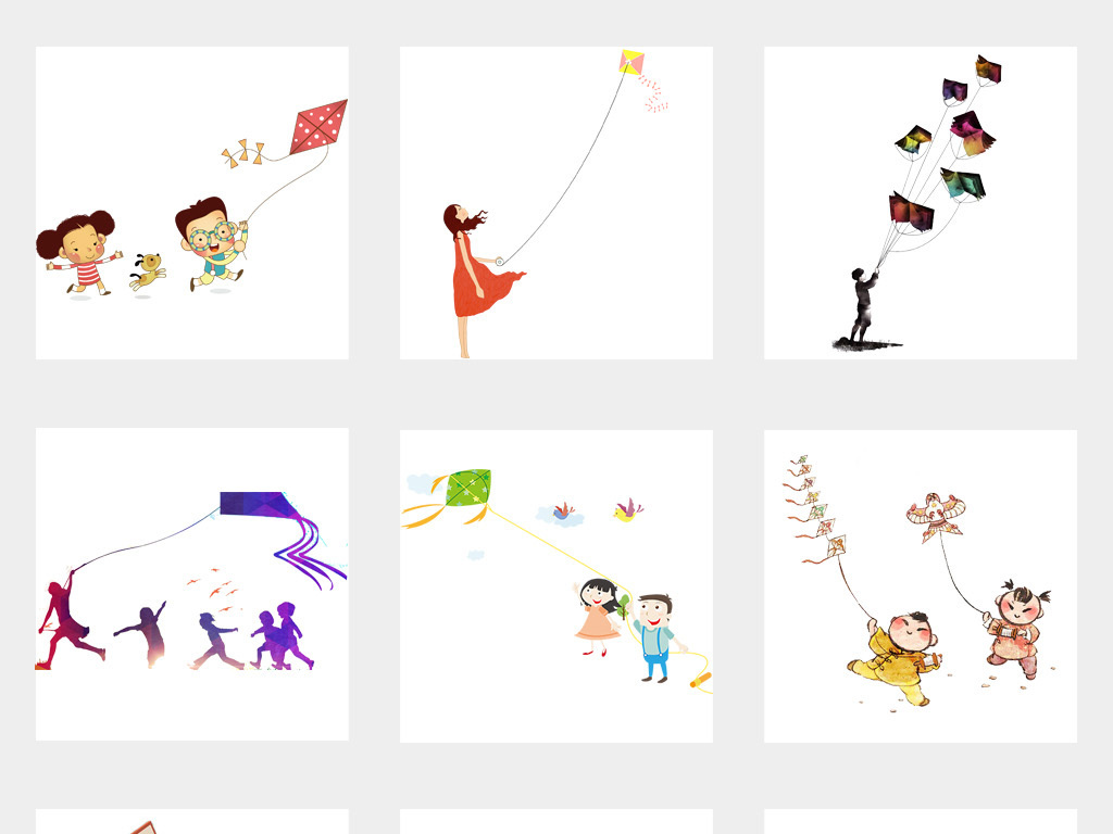 卡通春天放风筝人物PNG免扣素材图片 模板下载 33.21MB 其他大全 图片