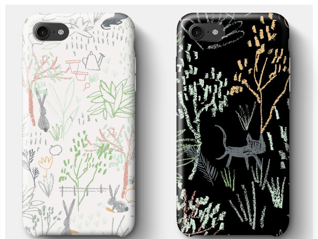 时尚流行手绘植物花卉手机壳图案印花