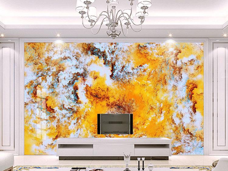 欧式抽象金色云层大理石纹电视背景墙