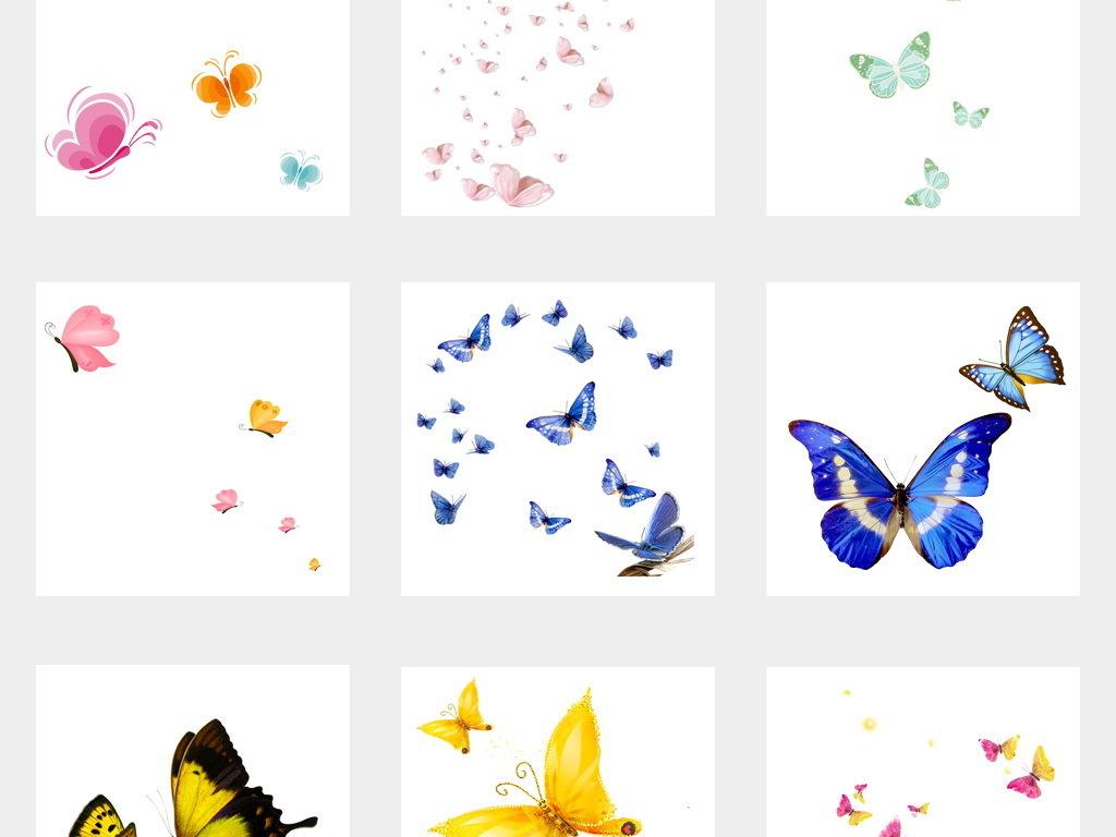 卡通唯美手绘蝴蝶飞舞蝶群造型设计元素png免扣素材02
