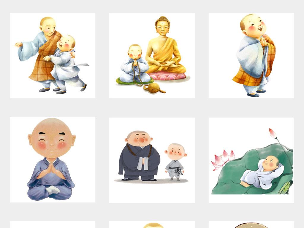 手绘卡通可爱小和尚卡通武术人物png设计元素