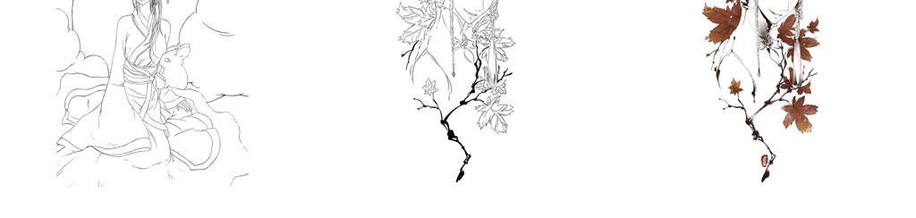 手绘画美术手绘线条稿风格之古风jpg