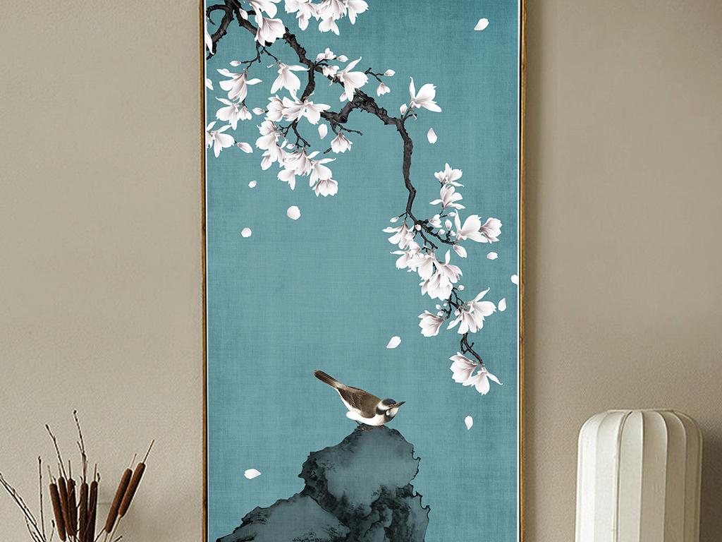 白玉兰手绘工笔花鸟新中式玄关背景墙装饰画