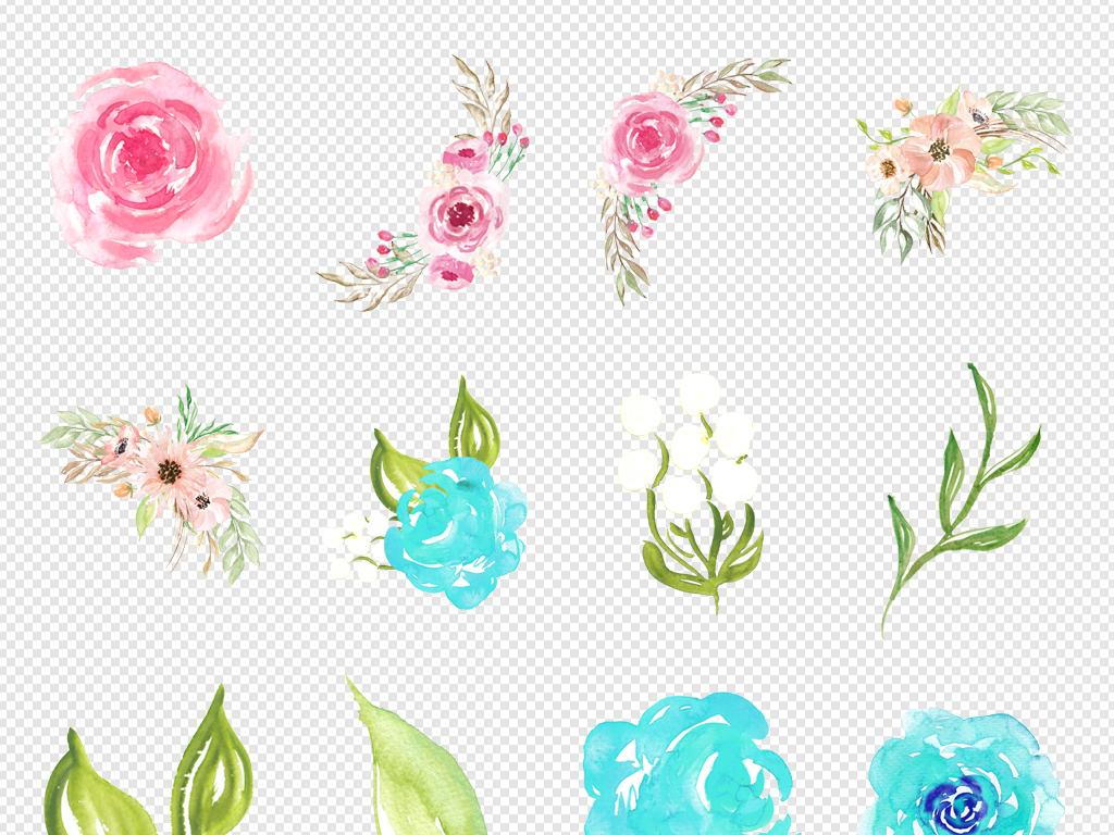 唯美森系手绘水彩花朵鲜花花边花角背景素材