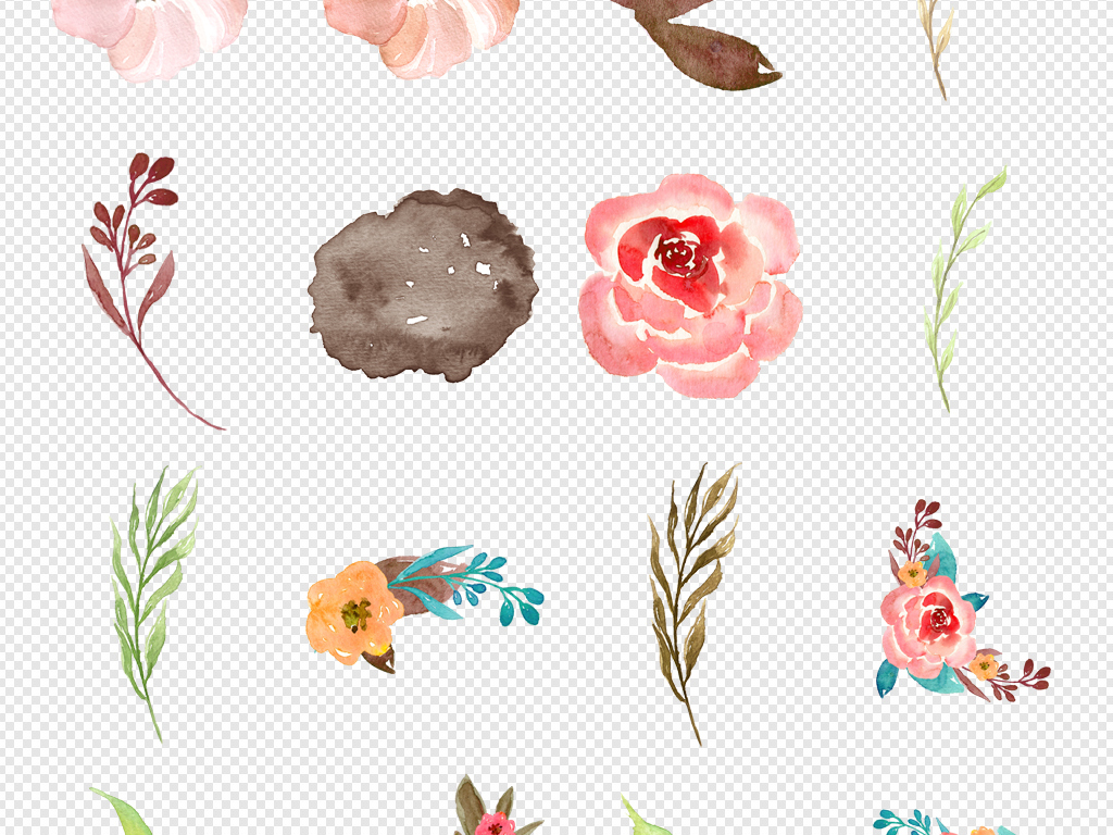 唯美森系手绘水彩花朵花瓣素材