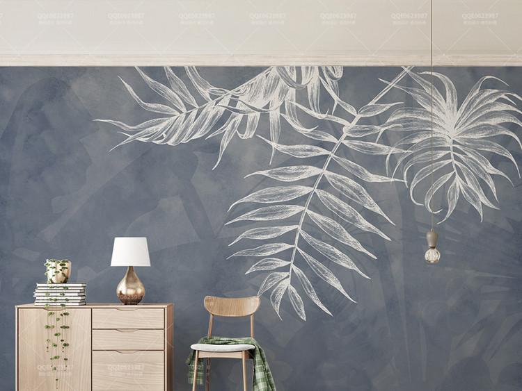 宜家风格叶子纹理藏青色北欧电视背景墙