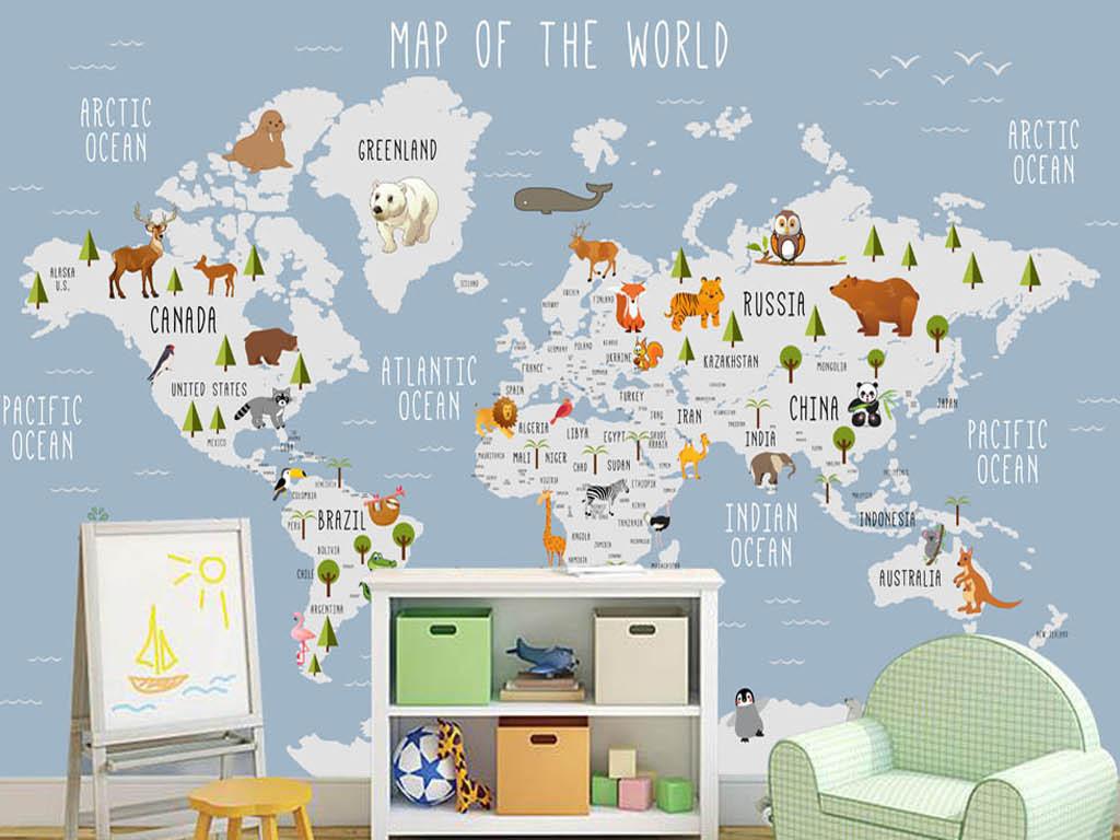 亚洲地图手绘