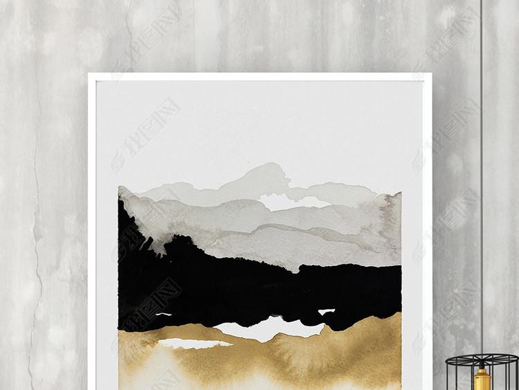 新中式金色抽象山峰艺术装饰画