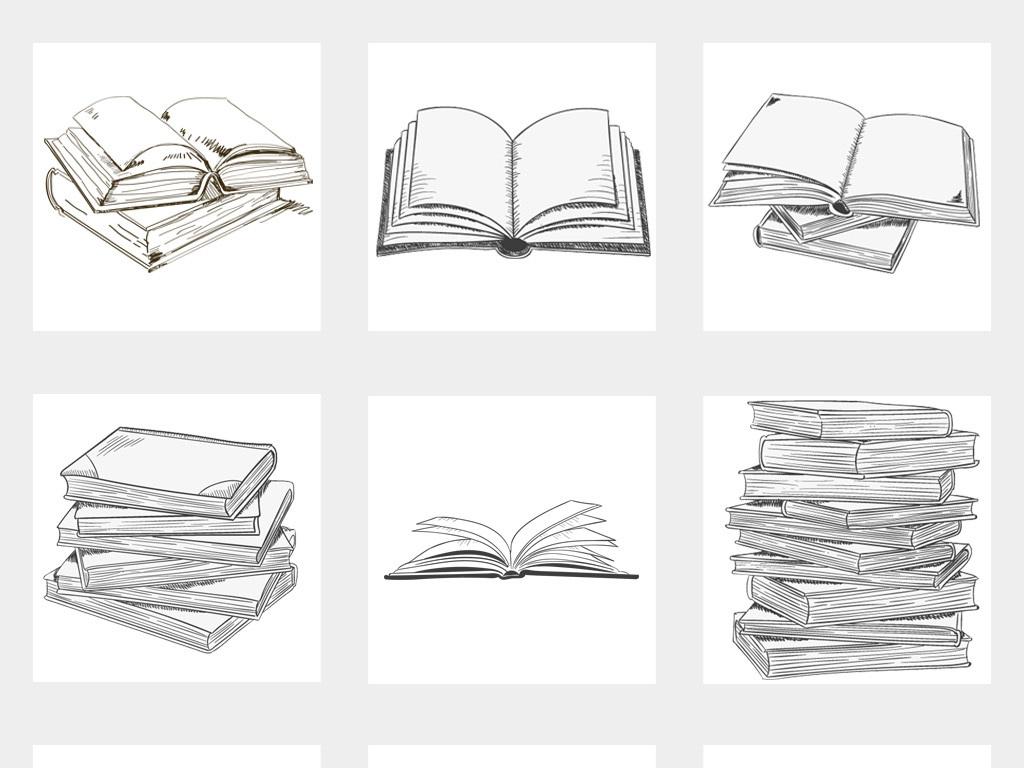 50款卡通手绘书本素描线稿书本png免扣素材