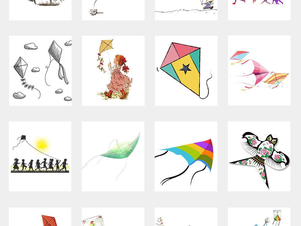 手绘风筝放风筝小孩玩耍童趣素材图片 模板下载 13.59MB 效果大全 其图片