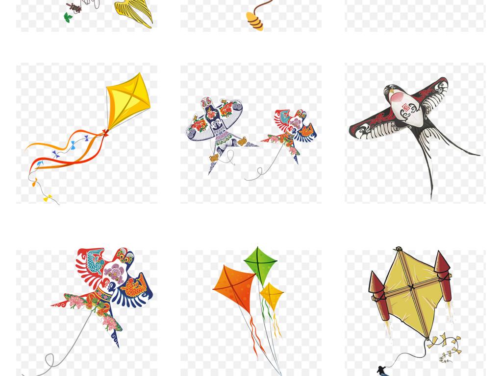 春天卡通手绘风筝春游活动海报png素材