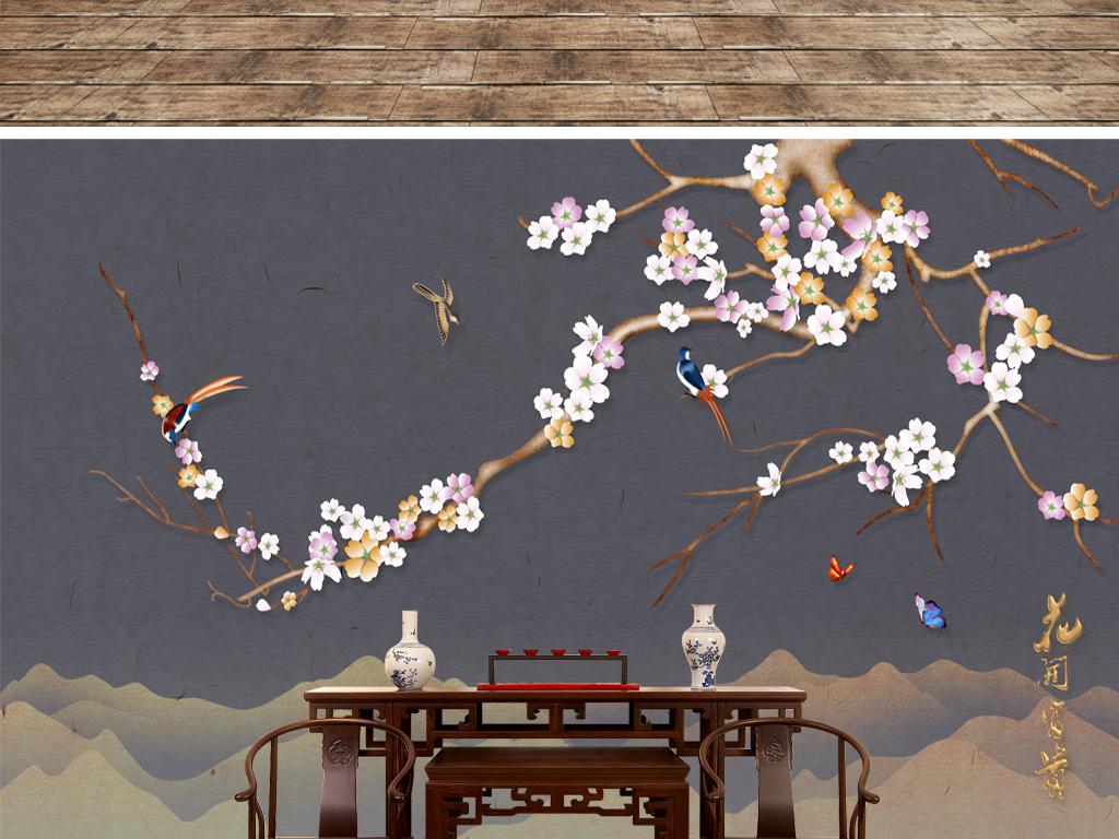 新中式意境山水手绘花鸟背景墙装饰画
