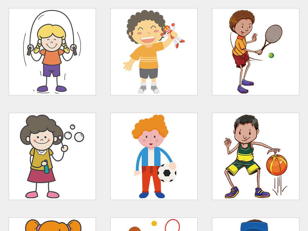 ai/独立png/卡通小学生儿童小孩踢足球运动体育免扣素材