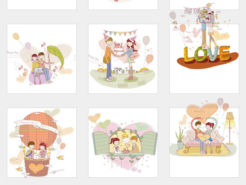 ai/独立png/矢量卡通手绘插画年轻情侣约会生活场景套图素材图