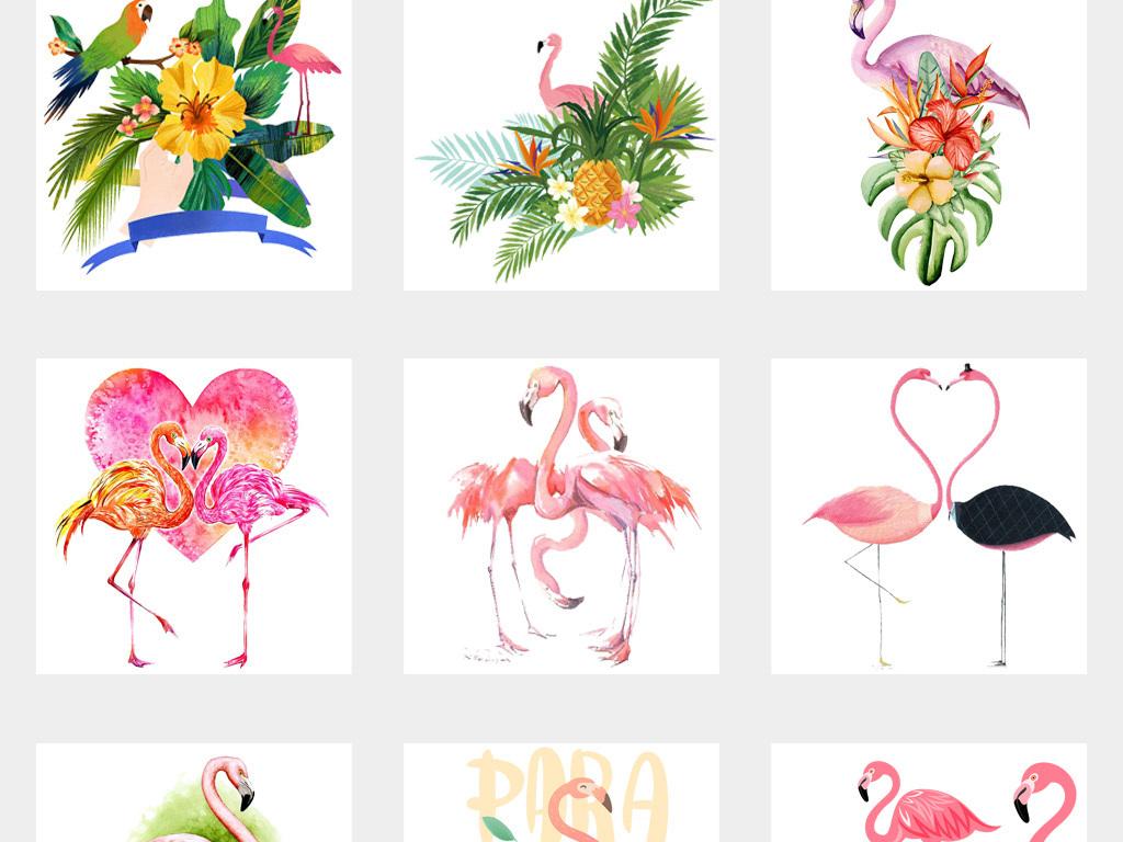 设计元素 自然素材 动物 > 森系手绘可爱卡通火烈鸟海报背景png免扣