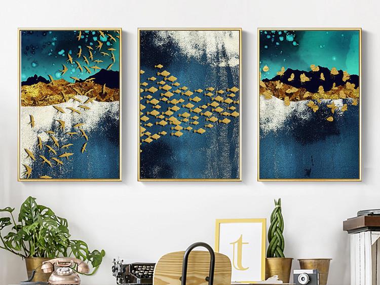 新中式山水抽象金色鸟鱼蝴蝶床头画装饰画