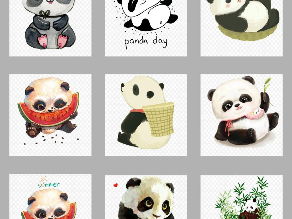 免抠元素 生活工作 居家物品 > 卡通可爱手绘熊猫png素材集合  素材